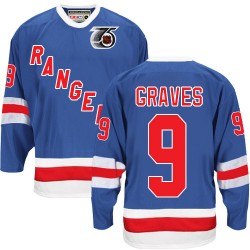 Adult Authentic New York Rangers Adam Graves Royal Blue Throwback 75TH Official CCM Jersey