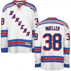 Adult Authentic New York Rangers Chris Mueller White Away Official Reebok Jersey