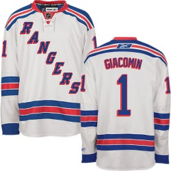 Adult Authentic New York Rangers Eddie Giacomin White Away Official Reebok Jersey