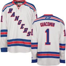 Adult Premier New York Rangers Eddie Giacomin White Away Official Reebok Jersey