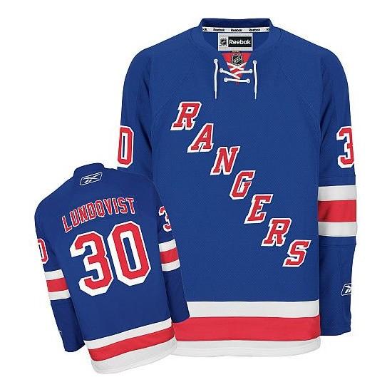 Adult Premier New York Rangers Henrik Lundqvist Royal Blue Home Official Reebok Jersey