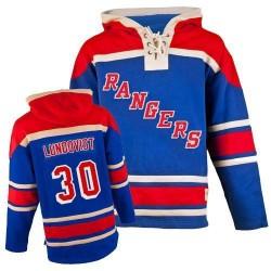 New York Rangers Henrik Lundqvist Official Royal Blue Old Time Hockey Premier Adult Sawyer Hooded Sweatshirt Jersey