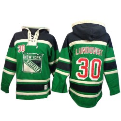 New York Rangers Henrik Lundqvist Official Green Old Time Hockey Premier Adult St. Patrick's Day McNary Lace Hoodie Jersey