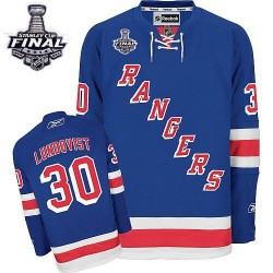 Adult Authentic New York Rangers Henrik Lundqvist Royal Blue Home 2014 Stanley Cup Official Reebok Jersey