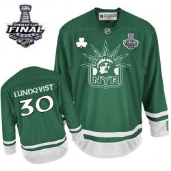 Adult Authentic New York Rangers Henrik Lundqvist Green St Patty's Day 2014 Stanley Cup Official Reebok Jersey