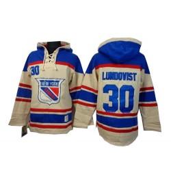 New York Rangers Henrik Lundqvist Official Cream Old Time Hockey Authentic Adult Sawyer Hooded Sweatshirt Jersey
