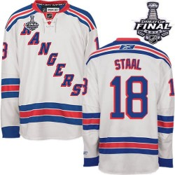 Adult Authentic New York Rangers Marc Staal White Away 2014 Stanley Cup Official Reebok Jersey