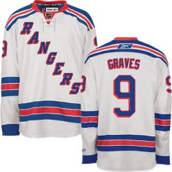 Adult Authentic New York Rangers Adam Graves White Away Official Reebok Jersey