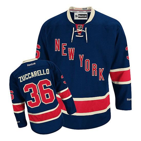 Adult Authentic New York Rangers Mats Zuccarello Navy Blue Third Official Reebok Jersey