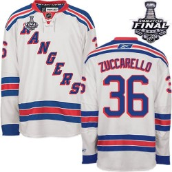 Adult Authentic New York Rangers Mats Zuccarello White Away 2014 Stanley Cup Official Reebok Jersey