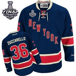 Adult Premier New York Rangers Mats Zuccarello Navy Blue Third 2014 Stanley Cup Official Reebok Jersey