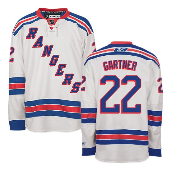 Adult Authentic New York Rangers Mike Gartner White Away Official Reebok Jersey