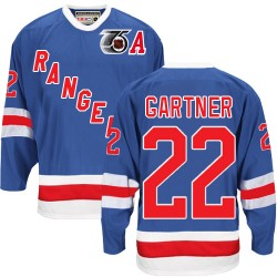 Adult Authentic New York Rangers Mike Gartner Royal Blue Throwback 75TH Official CCM Jersey