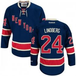 Adult Authentic New York Rangers Oscar Lindberg Navy Blue Alternate Official Reebok Jersey