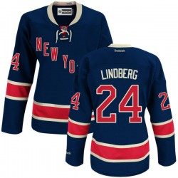 Women's Premier New York Rangers Oscar Lindberg Navy Blue Alternate Official Reebok Jersey