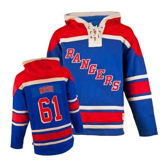 New York Rangers Rick Nash Official Royal Blue Old Time Hockey Authentic Adult Sawyer Hooded Sweatshirt Jersey