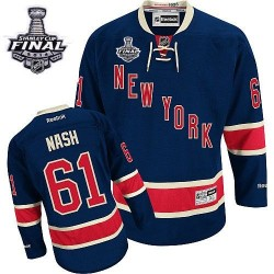 Adult Premier New York Rangers Rick Nash Navy Blue Third 2014 Stanley Cup Official Reebok Jersey