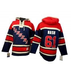 New York Rangers Rick Nash Official Navy Blue Old Time Hockey Authentic Adult Sawyer Hooded Sweatshirt Jersey