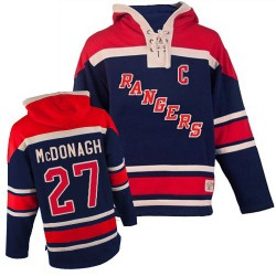 New York Rangers Ryan McDonagh Official Navy Blue Old Time Hockey Authentic Adult Sawyer Hooded Sweatshirt Jersey