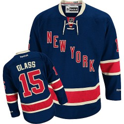 Adult Authentic New York Rangers Tanner Glass Navy Blue Third Official Reebok Jersey