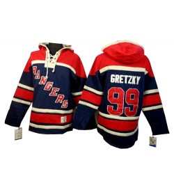 New York Rangers Wayne Gretzky Official Navy Blue Old Time Hockey Premier Adult Sawyer Hooded Sweatshirt Jersey