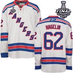 Adult Premier New York Rangers Carl Hagelin White Away 2014 Stanley Cup Official Reebok Jersey