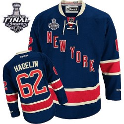 Adult Authentic New York Rangers Carl Hagelin Navy Blue Third 2014 Stanley Cup Official Reebok Jersey