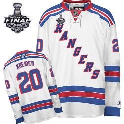 Adult Premier New York Rangers Chris Kreider White Away 2014 Stanley Cup Official Reebok Jersey