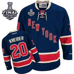 Adult Authentic New York Rangers Chris Kreider Navy Blue Third 2014 Stanley Cup Official Reebok Jersey
