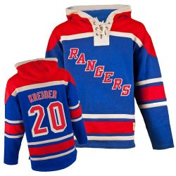 New York Rangers Chris Kreider Official Royal Blue Old Time Hockey Authentic Adult Sawyer Hooded Sweatshirt Jersey