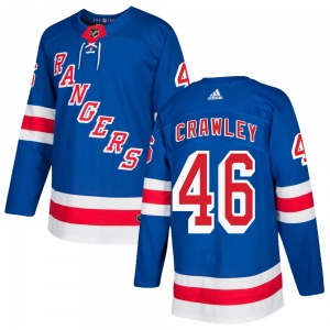 Adult Authentic New York Rangers Brandon Crawley Royal Blue ized Home Official Adidas Jersey