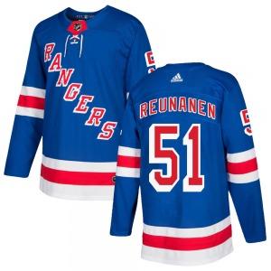 Adult Authentic New York Rangers Tarmo Reunanen Royal Blue Home Official Adidas Jersey