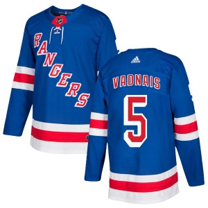 Adult Authentic New York Rangers Carol Vadnais Royal Blue Home Official Adidas Jersey