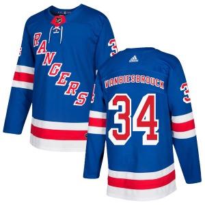 Adult Authentic New York Rangers John Vanbiesbrouck Royal Blue Home Official Adidas Jersey