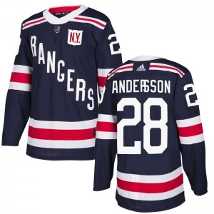 Adult Authentic New York Rangers Lias Andersson Navy Blue 2018 Winter Classic Home Official Adidas Jersey