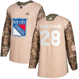 Adult Authentic New York Rangers Lias Andersson Camo Veterans Day Practice Official Adidas Jersey