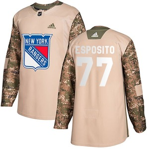 Adult Authentic New York Rangers Phil Esposito Camo Veterans Day Practice Official Adidas Jersey