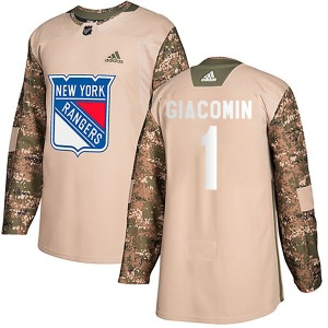 Adult Authentic New York Rangers Eddie Giacomin Camo Veterans Day Practice Official Adidas Jersey
