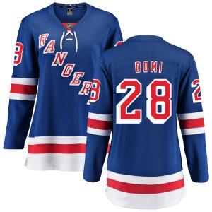 Women's Breakaway New York Rangers Tie Domi Blue Home Official Fanatics Branded Jersey