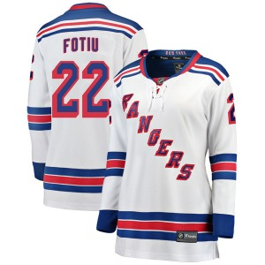 Women's Breakaway New York Rangers Nick Fotiu White Away Official Fanatics Branded Jersey