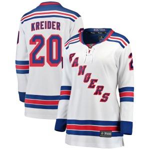 Women's Breakaway New York Rangers Chris Kreider White Away Official Fanatics Branded Jersey