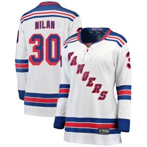 Women's Breakaway New York Rangers Chris Nilan White Away Official Fanatics Branded Jersey