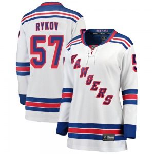 Women's Breakaway New York Rangers Yegor Rykov White Away Official Fanatics Branded Jersey
