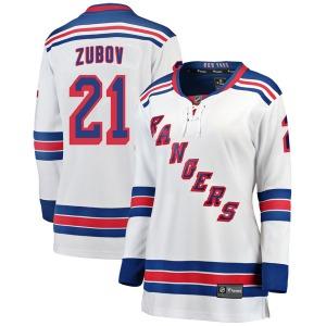 Women's Breakaway New York Rangers Sergei Zubov White Away Official Fanatics Branded Jersey