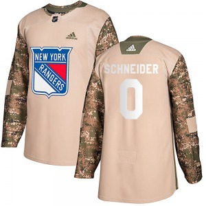Youth Authentic New York Rangers Braden Schneider Camo Veterans Day Practice Official Adidas Jersey