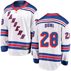 Adult Breakaway New York Rangers Tie Domi White Away Official Fanatics Branded Jersey