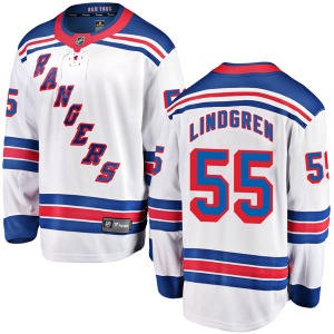 Adult Breakaway New York Rangers Ryan Lindgren White Away Official Fanatics Branded Jersey