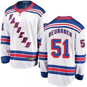 Adult Breakaway New York Rangers Tarmo Reunanen White Away Official Fanatics Branded Jersey