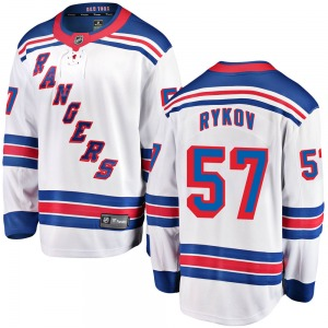 Adult Breakaway New York Rangers Yegor Rykov White Away Official Fanatics Branded Jersey