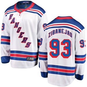 Adult Breakaway New York Rangers Mika Zibanejad White Away Official Fanatics Branded Jersey